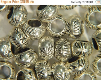 20% OFF about(50) Round Crosshatch Patterned Pewter beads about 6.9mm x 4.6mm 2194E