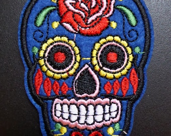 Embroidered patch fusible skull skull candy skull pinup 5.3 x 7.1 cm blue x 1