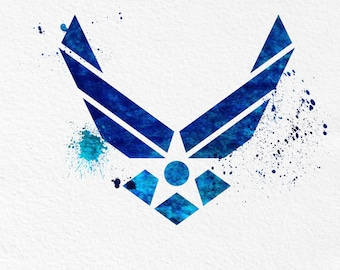 Watercolor Art  Air Force Symbol gift Modern 5x7 8x10 11x14 Wall Art Decor Armed Forces Illustration Art Wall Hanging  Print