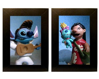 "Framed Lilo & Stitch Toy Photos Action Figure Photography 4"" x 6"" Movie"