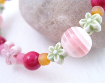 Pink orange and green bracelet with small flowers, Medium Girls Bracelet, GBM 102