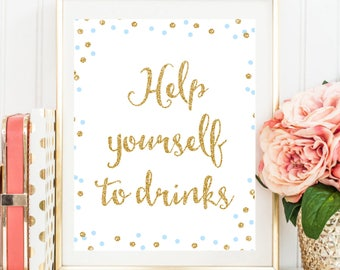 Blue and Gold Drinks Sign, Drink Table Sign, Blue and Gold Confetti, Baby Boy Shower decor, Drink Table Sign, Instant Download BB8
