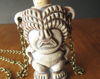 Tiki Necklace Ceramic Bottle Necklace Stoneware Ceramic Steampunk Necklace Boho Jewelry Rustic Handcrafted Jewelry