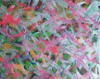 Rose, argent, vert, Orange acrylique peinture abstraite sur toile «série 7 LXIV «murale Art déco