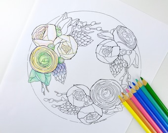 Ranunculus Flower Coloring Page for Adults   Digital Coloring Hand Drawn Flowers Line Art by Olga Zaytseva   Wreath Cake adult coloring page