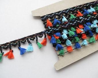 1mt of multi coloured tassel fringe trimming, festival crochet craft dance edging