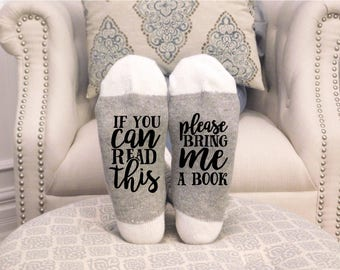 PINK WINE SOCKS-  If You Can Read this Please Bring me a Book- Funny socks, Book lover