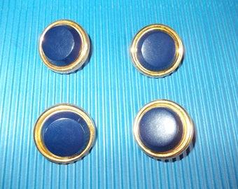 Set of 4 buttons rimmed blue fancy dark gold