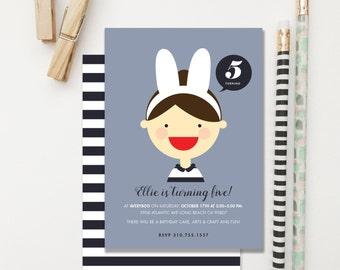 Bunny Birthday Invitation easter brunch. Girl Birthday Invitation