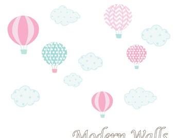 Hot Air Balloon Nursery -Hot Air Balloon Decals-Hot Air Balloon and Cloud Decal-Wall Decals-Girl Bedroom-Nursery Decor-Wall Stickers