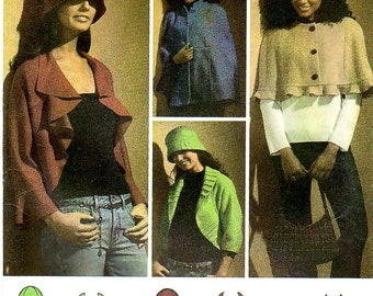 Misses' Jacket, Cape in Two Lengths, Hat, Bag, sizes XS,S,M,L,XL, hat in S,M,L, Simplicity 4428
