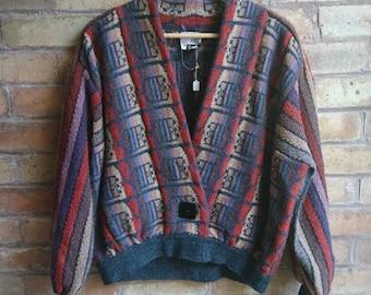 Vintage multicoloured puff sleeved cardigan