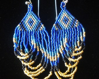 Blue Beaded Triangle Earring