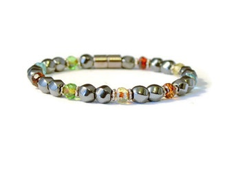 Magnetic Hematite Therapy Bracelet with Gemstone Firepolish Beads, Health Jewelry, Pain Relief