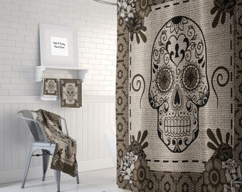 Sugar Skull Shower Curtain , Day Of The Dead , Brown Beige , Bath Mat , Bath Towels , Sugar Skull Bath Set
