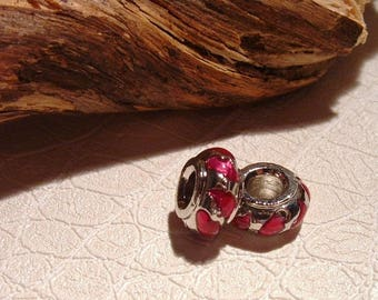 THE FUCHSIA silver plated and enameled 7X13mm SAUCER bead