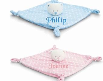 Keel Personalised Baby Comforter Bear Boys & Girls Custom Bespoke Gift, Customised Comforter, Baby Gifts, Baby Shower gifts, baby gift