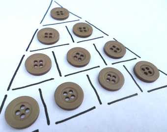10 Tan Vintage 4 Hole Buttons