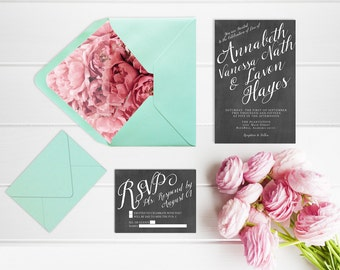 Wedding Invitations w/ Mint Green Envelopes & Coral Pink Peony Liner with RSVP Cards / Rustic Chic Chalkboard Weddings / PRINTED Chalkboard