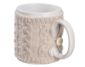 Mug Sweater, Cup Cozy, Reusable Coffee Sleeve Hand Protector, Drink Grip, Beige