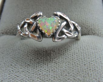 Celtic Silver and Simulated Opal Ring, St Patrick's Day Ring, Size 7
