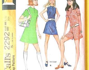 Spring Sale 1970s  McCall's 2292 OnePiece Dress or pantdress Women's Patterns Vintage Sewing Pattern Bust 30.5 inches