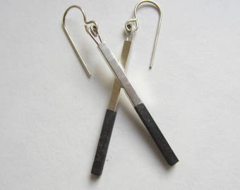 Black Silver Bar Earrings oxidized sterling silver modern dangles handfabricated