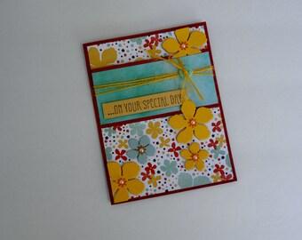 Birthday Card, Handmade Card, Floral Card, Special Day Card