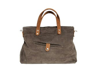 Shoulder or Tote made of nubuck leather