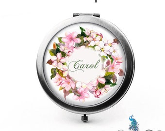 Custom Compact Mirror Pink Sakura Blossoms Floral Wreath The Carol Bridesmaid Gifts Cosmetic Mirror Personalized Gifts