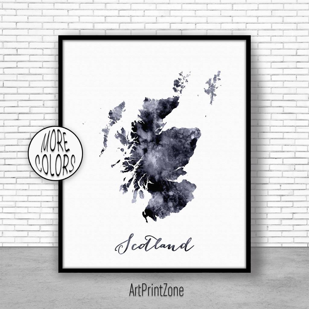 Schottland Aquarell Karte Schottland Karte Art Karte Malerei