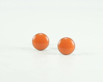 ORANGE Stud Earrings - Medium Orange Earrings - Orange Ear Studs - Orange Earrings Stud - Surgical Steel Post Earrings - 4mm / 6mm / 8mm
