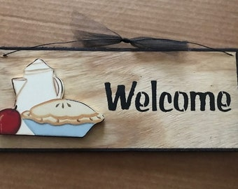 WELCOME country primitive 4x12 Apple Pie Coffee pot kitchen home decor wood sign