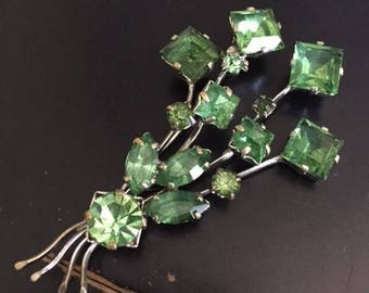 Vintage Faux Green Emerald and Silver Tone Brooch Mid Century