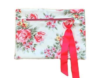 Cosmetics Bag, Cath Kidston Fabric ®, Make Up Bag, Travel Bag, Cabbage Roses, Gift.