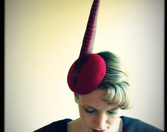 Cocktail hat Colours Of Autumn red Pheasant tail hat