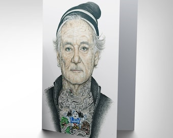 Bill Murray Card - Gangster Funny Inked Ikon Art by Wayne Maguire CP2936