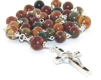 Man's Anglican Rosary Prayer Beads, Jasper Beads, St Benedict Cross - Christian Rosary Beads