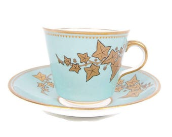 Vintage Tuscan China Teacup and Saucer Mint Green Tea cup Gold Leaves Gilt Trim Tea Party