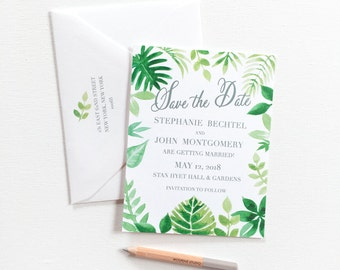 Destination Wedding Save the Date, Beach Wedding Save the Date, Save the Date Card, Tropical Leaves Save the Date, Tropical Botanic Garden