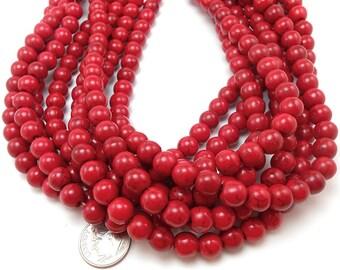 52 Red Howlite Beads 8MM round