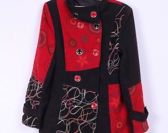 Women's S Coat Black Red Embroidered Big Buttons Fitted Spring Top