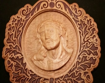Original Carved Wooden Plaque of Jesus