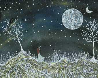 Moon Art // Nursery Art // Fine art Print // Emma & the valley of two moons