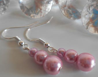 Vintage trio of pink pearls wedding earrings
