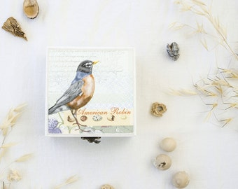Bird jewelry box - Decoupage box - Jewelry box wood - Jewelry box - Birthday gifts