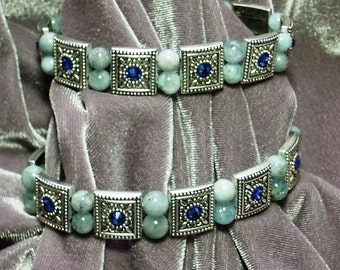 6mm Aquamarine Beads and Plated Pewter Spacer Bead Stretch Bracelet