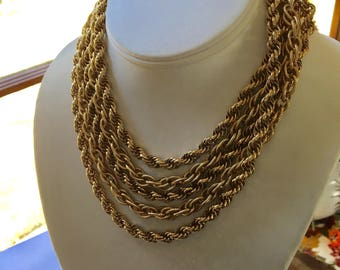 Vintage 5 Strand Chain Necklace Gold Tone