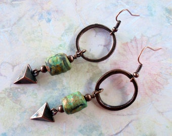 Green and Copper Boho Earrings (4170)
