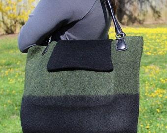 Wool Felt Tote Travel Bag Handknit Wet Felt Black and Heathered Green
